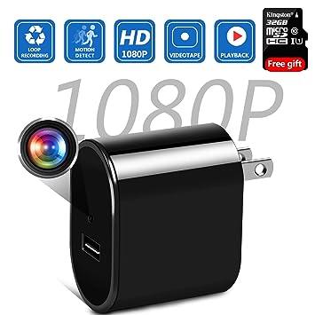 Amazon.com: Cargador de pared cámara oculta con tarjeta SD ...