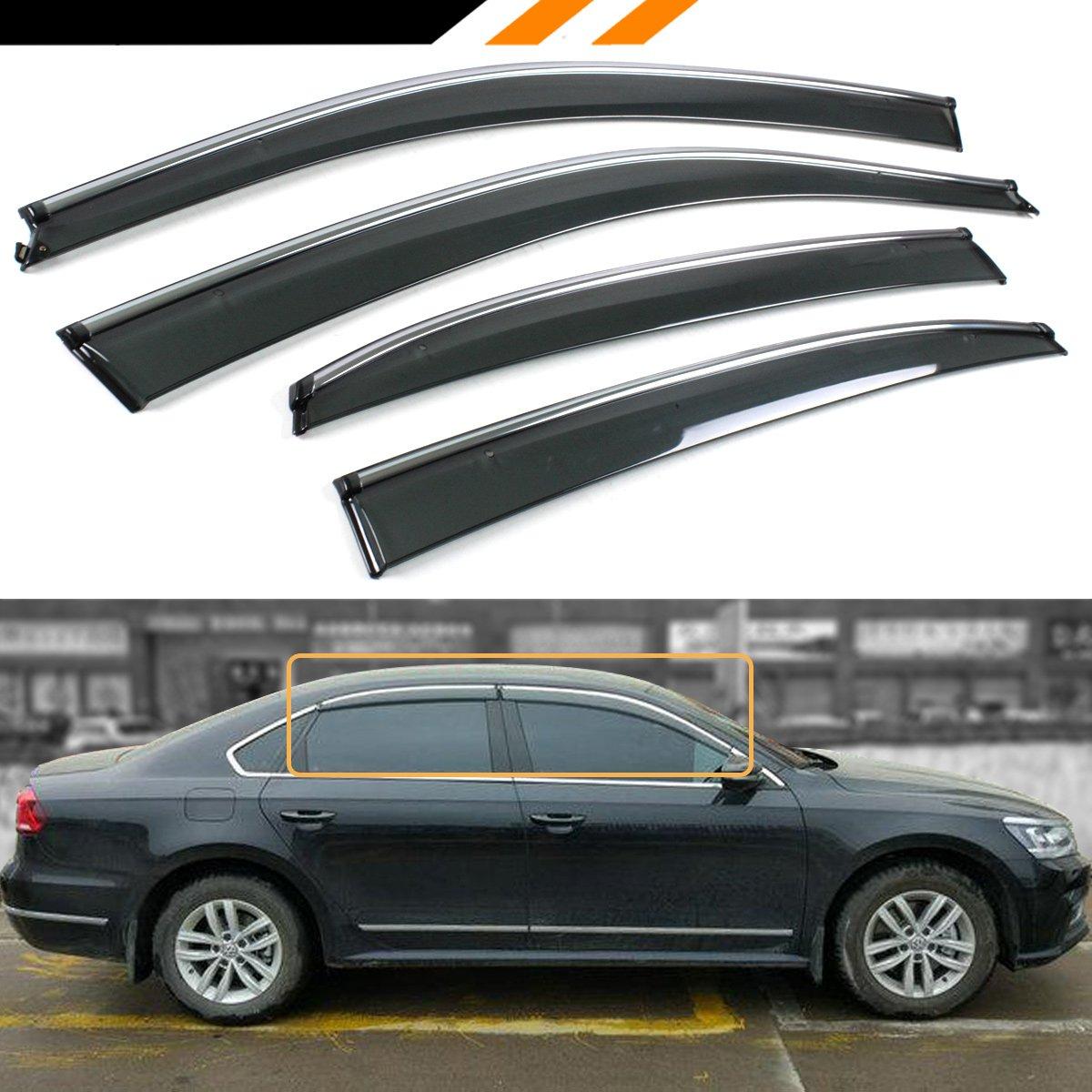 Cuztom Tuning Smoke Tinted Clip ON Window Visor RAIN Guard W/Chrome Trim for 2011-2018 VW Passat