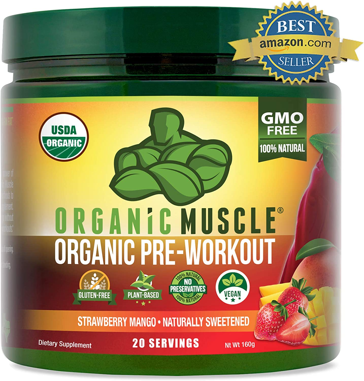 ORGANIC MUSCLE 1 Rated Organic Pre Workout Powder **New Flavor** Natural Vegan Keto Pre-Workout Organic Energy Supplement for Men Women- Non-GMO, Paleo, Plant Based Strawberry Mango 160g