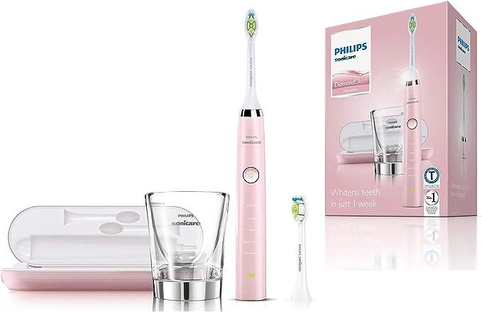 Philips Sonicare DiamondClean HX9352/04 - Cepillo de dientes eléctrico Recargable, 5 Modos, 2 Cabezales, Vaso Cargador y Estuche USB, Color Rosa: Amazon.es: Salud y cuidado personal