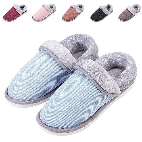 388c491434 Leisurely Pace Women's Cozy Memory Foam Slippers Indoor Outdoor Anti-Skid  Sole Velvet Winter Warm House Slippers