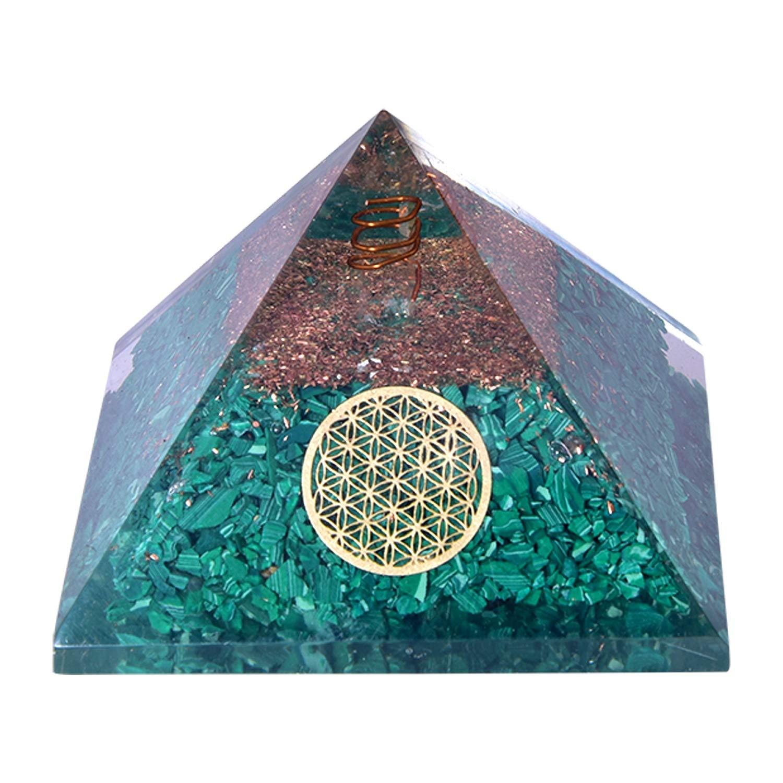 Flower of Life Malachite Crystal Orgone Pyramid Natural Meditation Orgonite Reiki EMF Protection Energy Generator