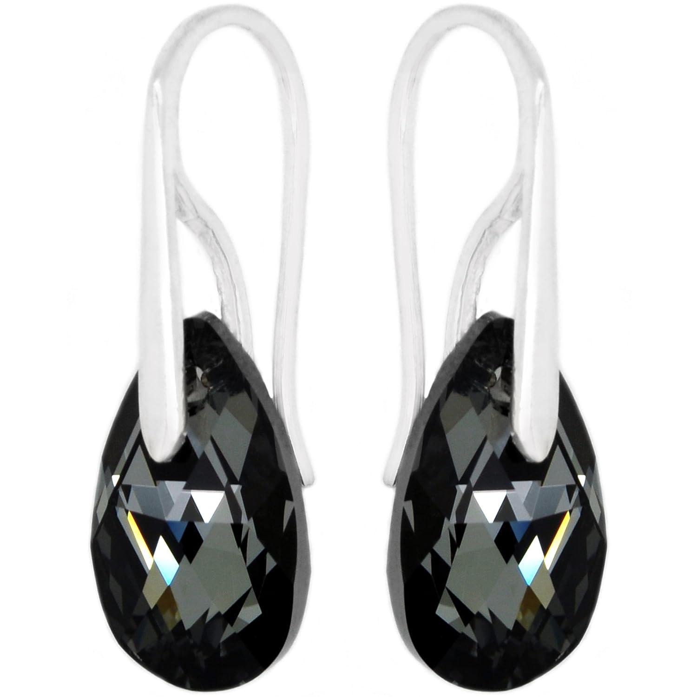 Plata De Ley Con Cristales Swarovski Negro Gris Pendientes Largos Para Mujeres