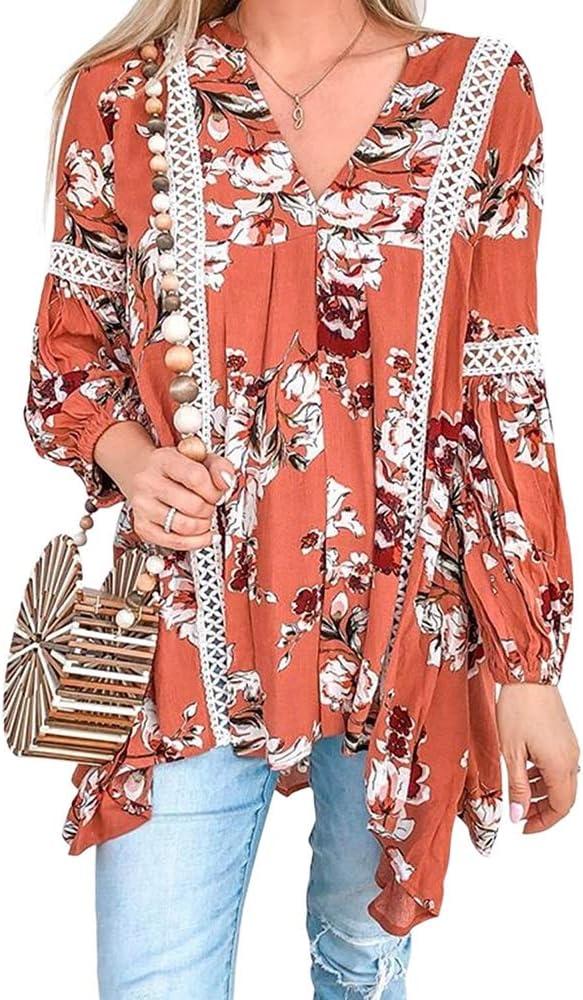 RENJIANFENG Blusas De Mujer,Volantes Fruncidos Ahuecados Camisa Cuello En V Boho Estampado Floral Blusa Top Manga Larga Suelta Camiseta Casual Blusas Tops,Rojo,L: Amazon.es: Hogar