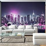 murando Papier peint intissé 50x35 cm - 3 couleurs au choix - Top vente - Papier peint - Tableaux muraux déco XXL - New York City ville NY Manhattan nuit Panorama highrise gratte-ciel d-C-0012-a-d