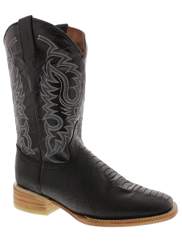 Men's New Ostrich Leg Lather Cowboy Western Square Toe Boots Black