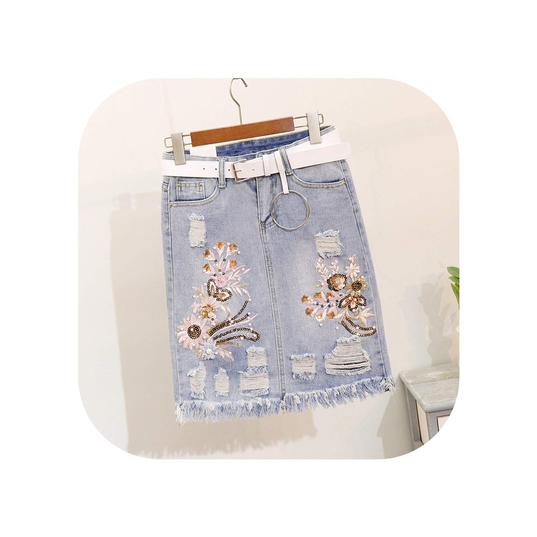 bluee enjoypeak Ripped Jeans Skirt Suits Woman Summer New Bead Sequined Embroidery Flower TShirt+Grind Denim