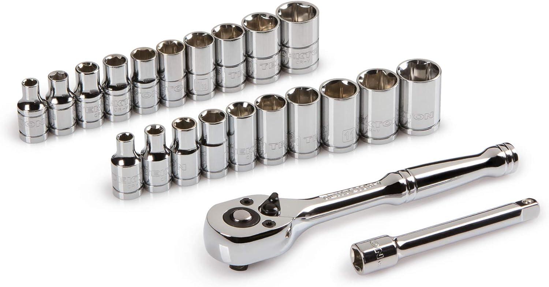 10 mm 19 mm Inch//Metric 7//8-Inch TEKTON 3//8-Inch Drive Socket Set 22-Piece 1061 5//16-Inch