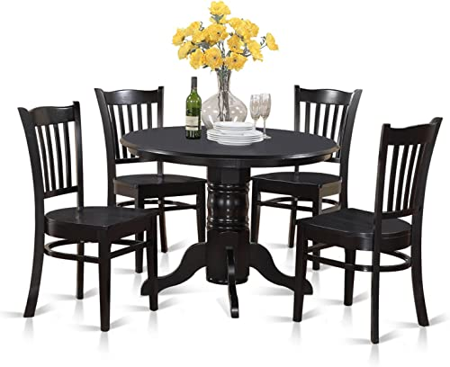 SHGR5-BLK-W 5 Pc small Kitchen Table set-Round Table and 4 Dining Chairs