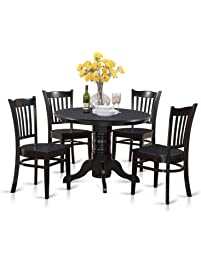 East West Furniture SHGR5 BLK W 5 Piece Kitchen Table Set, Black