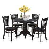 East West Furniture SHGR5-BLK-W 5-Piece Kitchen Table Set, Black Finish