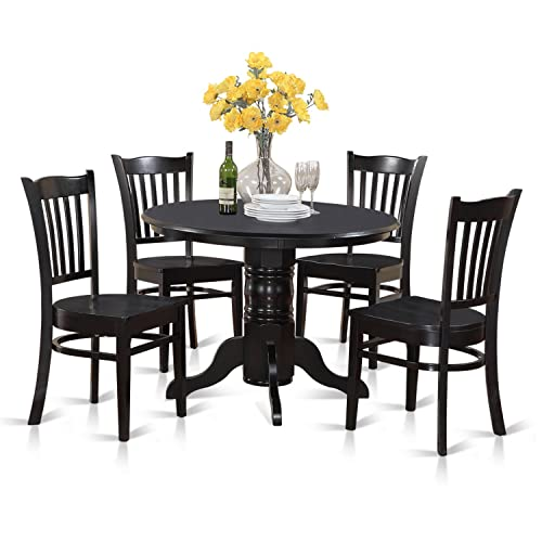SHGR5-BLK-W 5 Pc'small Kitchen Table'set-Round Table and 4 Dining Chair