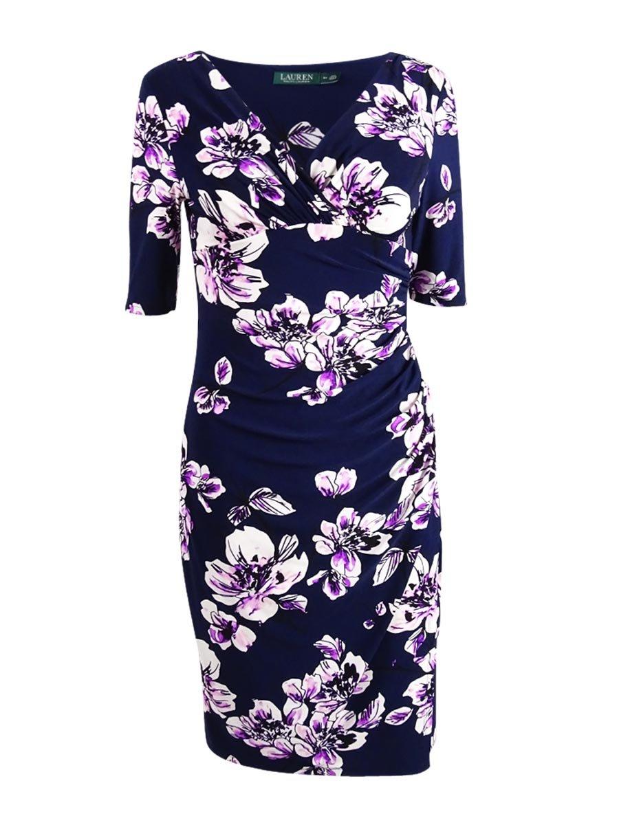 Lauren Ralph Lauren Women's Floral Faux-Wrap Jersey Dress (8P, Navy/Pink Multi)
