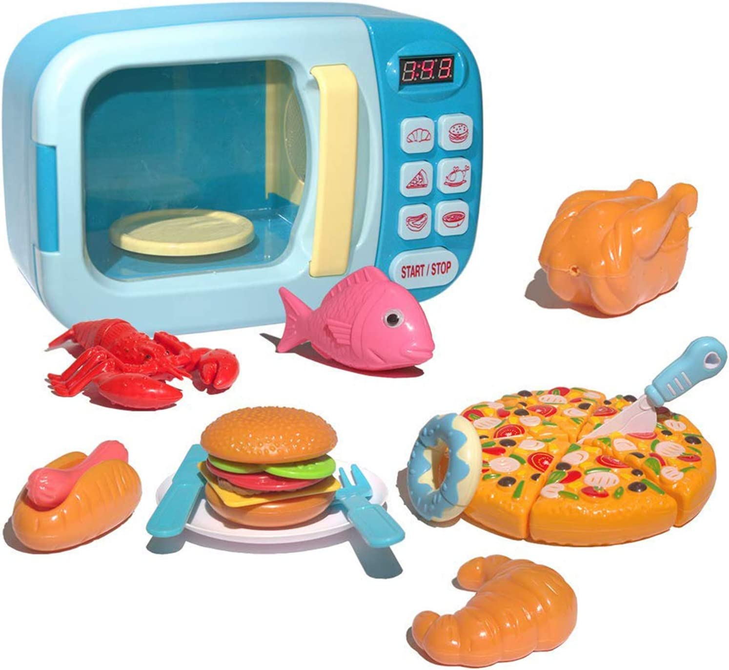 Microwave Kitchen Toys Play Set Pretend Accessories Fake Food Educational Toys Awareness Growth Partner Suitable for boy and Girl 3 4 5 6 Years Old (Blue)