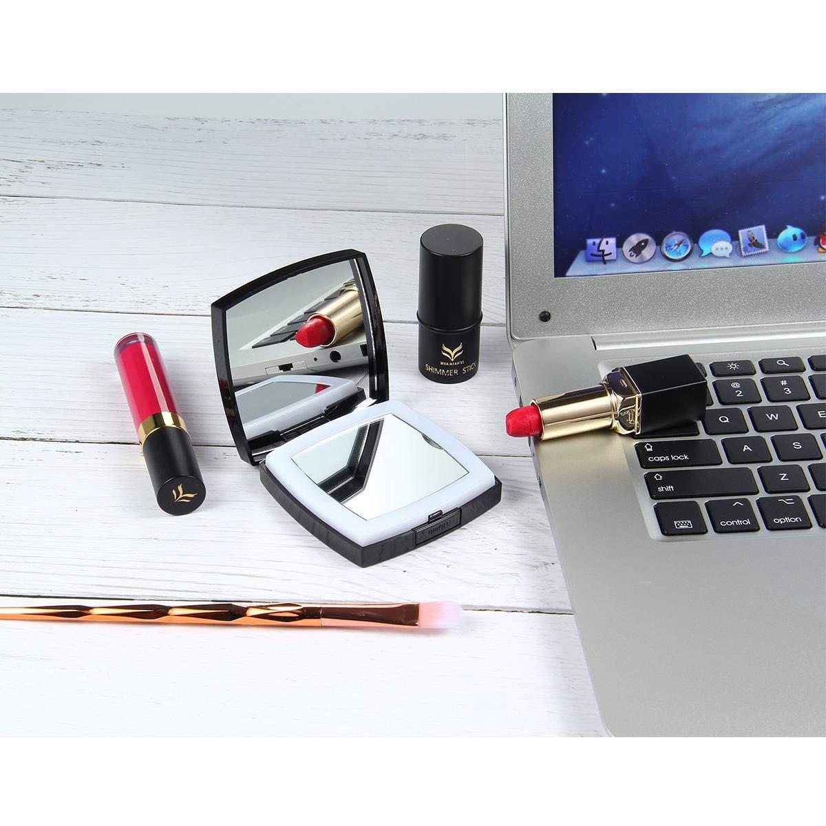 miroir de vanit/é de maquillage portatif avec la charge dUSB Miroir Grossissant Lumineux miroir de voyage tenu dans la main avec le sac MOGOI 1x//10x Miroir Grossissant /éclair/é de Maquillage
