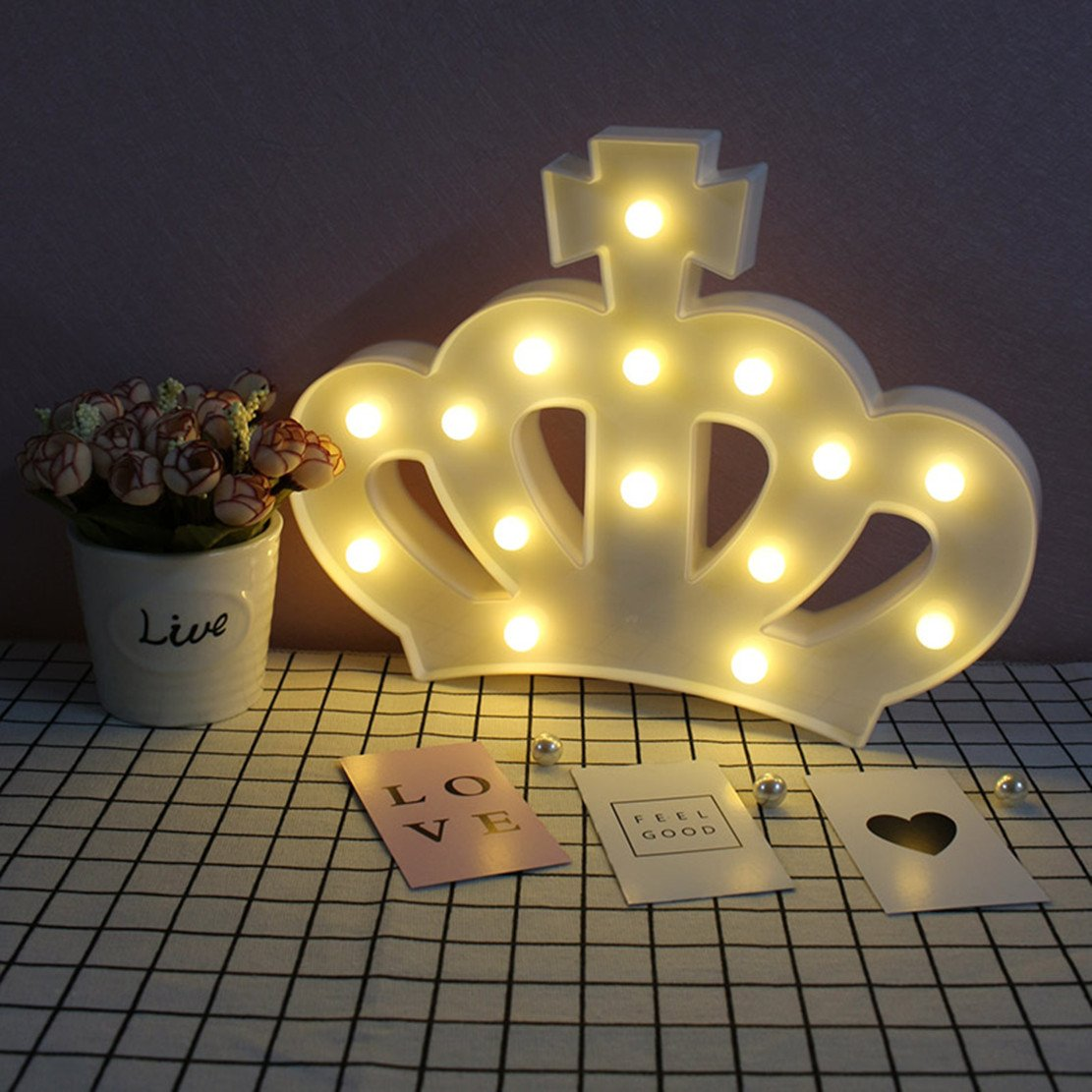 QiaoFei 3D Crown Marquee Sign Light,LED Queen Princess Kings Shaped Sign-Lighted,Wall Decor for Chistmas,Birthday party,Kids Room, Living Room, Wedding Party Decor(White) by QiaoFei (Image #1)