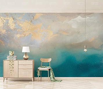 Papier Peint 3d Peinture A L Huile Abstraite Bleu Mer