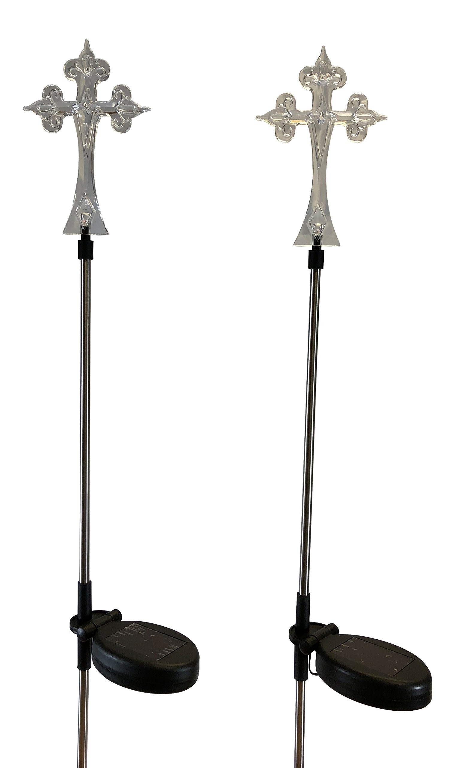 StonyCreek Solar Powered Cross Solar Light Landscape Garden Stake for Outdoor Pathway Patio, Set of 2pcs