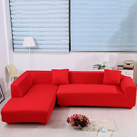 Lovely L Shape Sofa Covers, 2pcs Polyester Fabric Stretch Slipcovers + 2pcs Pillow  Covers For Sectional