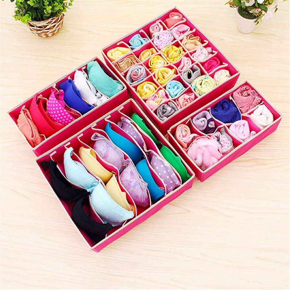 VADOLY 4Pcs Storage Box Non-Woven Fabric Cardboard Foldable Case Divider for Necktie Bra Sock Underwear Organizer Container