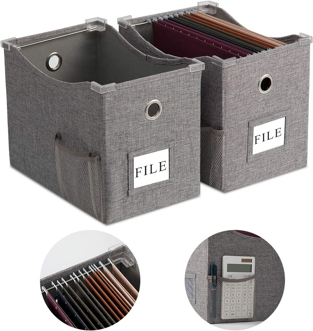 Linen File Boxes with Metal Sliding Rail For Letter Size [2pack] File Storage Box with Extra Pocket Storage Collapsible Hanging File Storage Organizer Storage Filing Boxes File Organizer Box