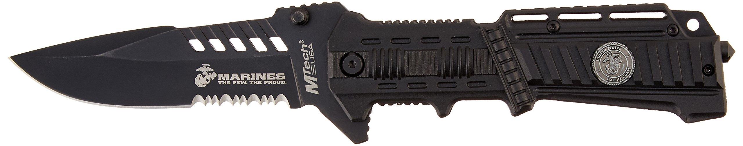 MTECH USA M-1000B US Marines Plastic Handle Folding Knife, 5-Inch Closed Length