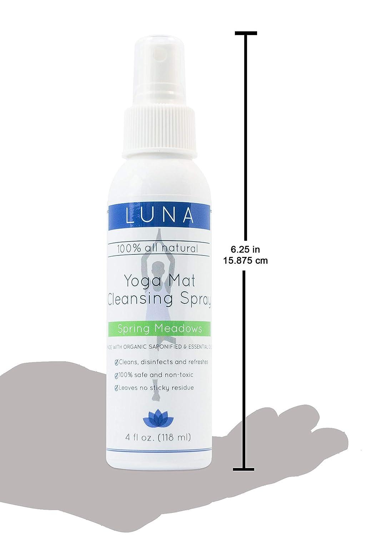 Luna Yoga Mat limpiador en spray Kit 4oz - 100% natural y orgánico - limpia sin deja residuos - incluye gamuza de microfibra toalla de Yogi