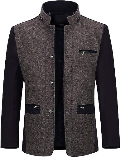 Fashion Men Winter Wool Trench Coat Overcoat Casual Long Sleeve Jacket Outwear
