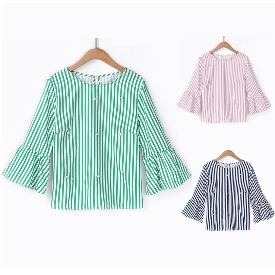 Longra ✓Top de rayas casuales de las mujeres de moda camiseta de manga flare rebordear blusa de la manga superior: Amazon.es: Alimentación y bebidas