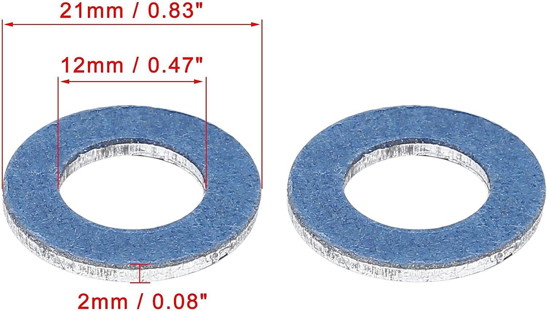 X AUTOHAUX 12pcs M12 Blue Oil Drain Plug Gaskets Replacement for Toyota 90430-12031