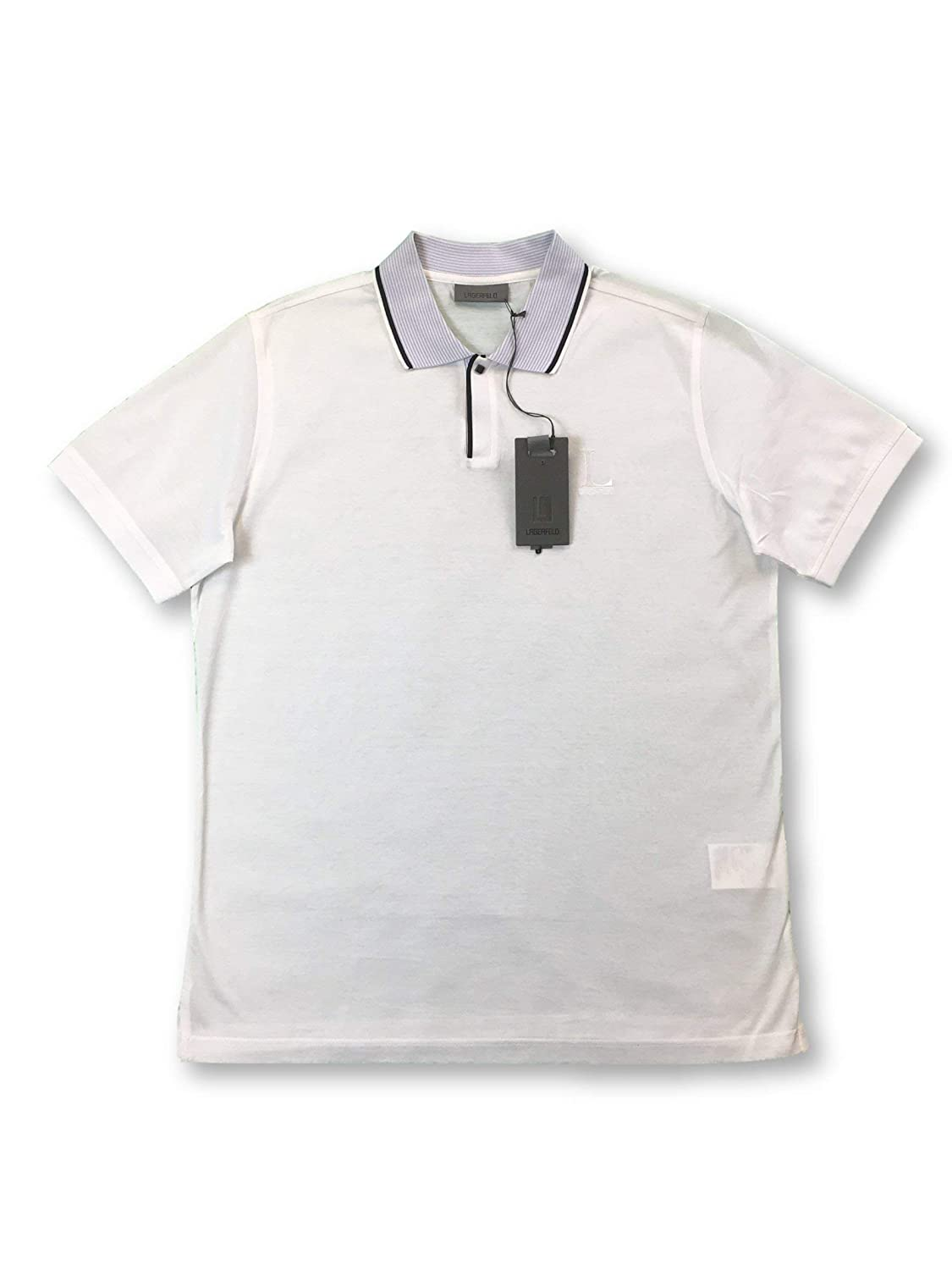 Lagerfeld Polo Shirt in White with Blue/Black Stripe Collar L ...