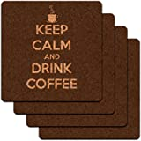 Keep Calm And Drink Coffee Cup of Coffee Low Profile Cork Coaster Set