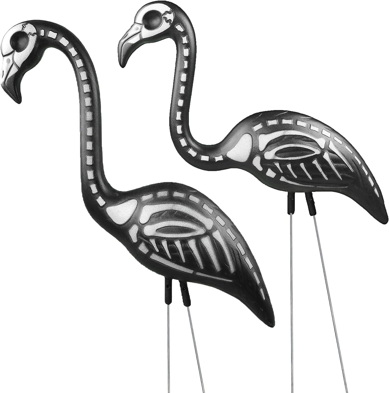 Skeleton Flamingo Yard Decor