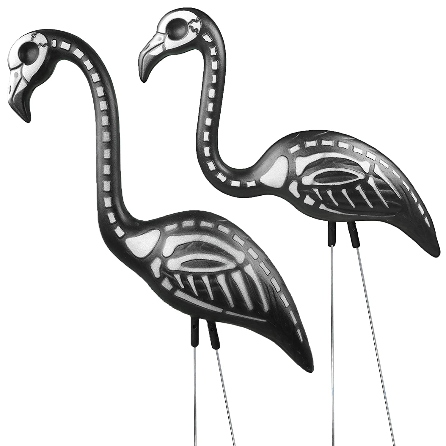 Skeleteen Zombie Skeleton Flamingo Yard Ornaments with Stakes, Pack of 2