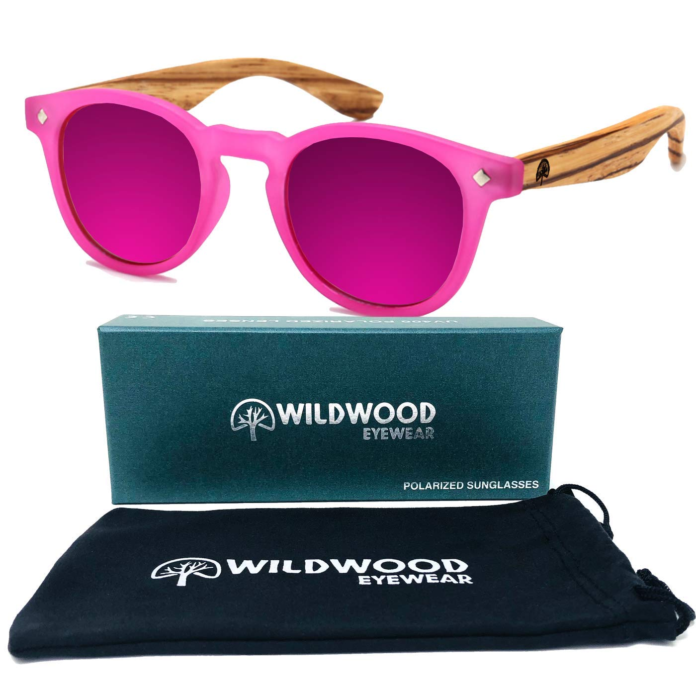Kids Cat Eye Zebra Wood Polarized Sunglasses by Wildwood - Children ages 4 to 8 years