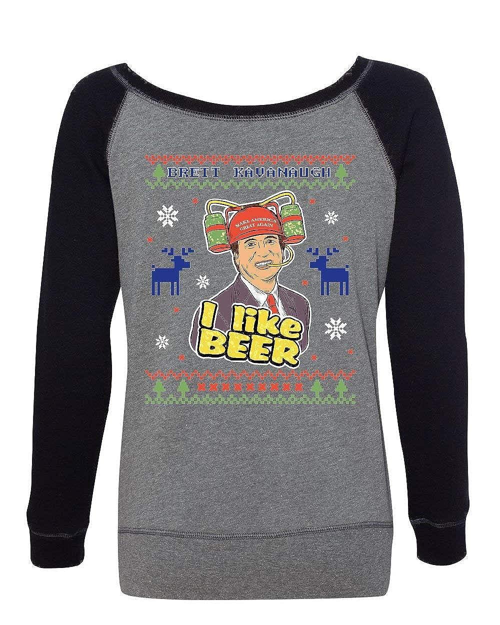 Tee Hunt Brett Kavanaugh Ugly Sweater Womens Sweatshirt I Like Beer Christmas Xmas