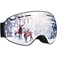 Mpow Unisex Over-the-Glasses Ski Goggles with Interchangeable Anti-Fog Spherical Double Lens (Grey)