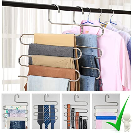 Ordinaire 2 Pack Pants Hangers, S Type Closet Organizer U0026 Stainless Steel Multi  Layers Magic