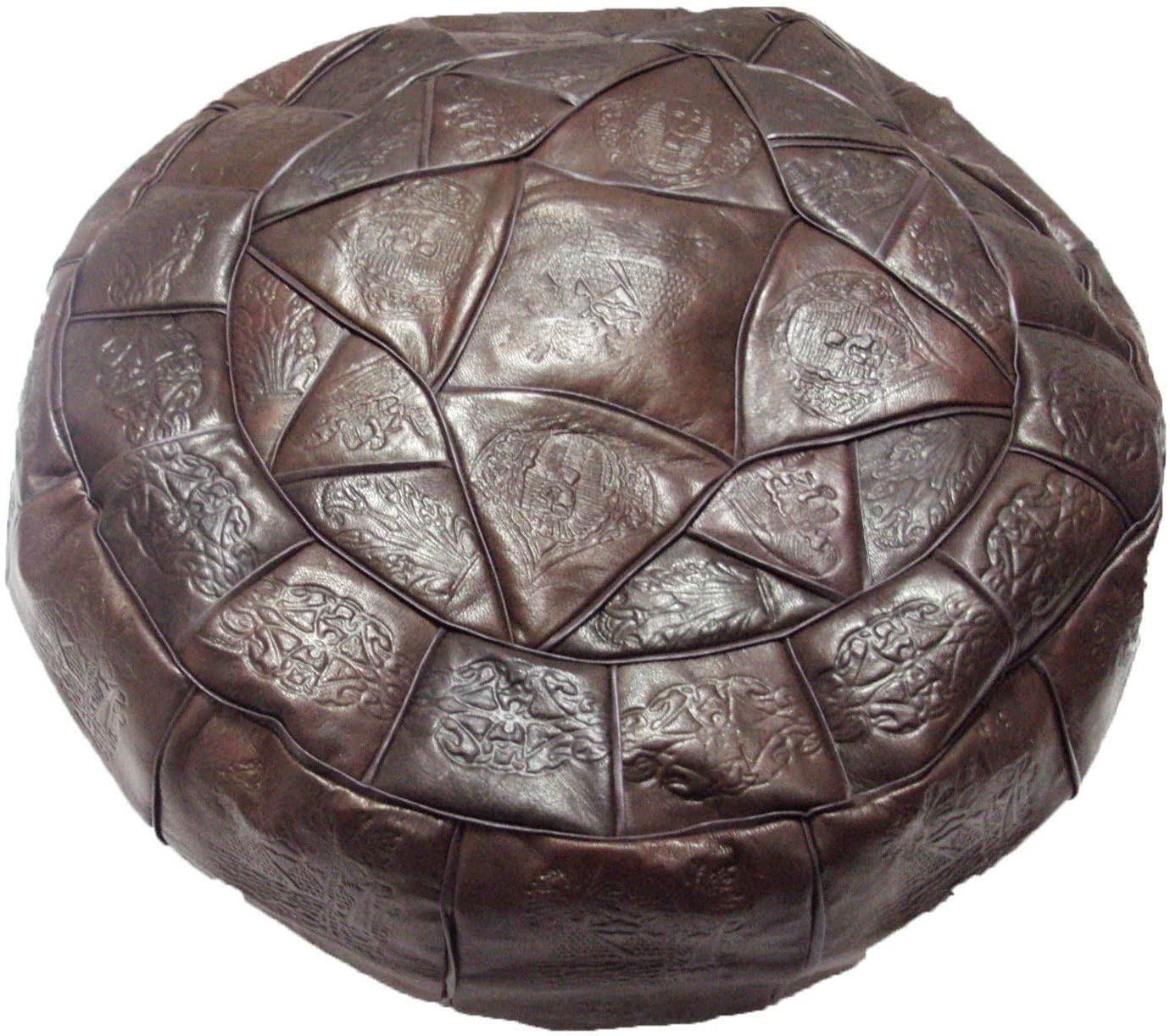 Authentic Egyptian Morocan Handmade Genuine Leather Ottoman Pouf Footstool Unstuffed XLarge Diameter 20 Height 11.3