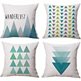 Modern Simple Geometric Style Cotton & Linen Throw Pillow Covers, 18 x 18 Inches, Pack of 4 (Blue)