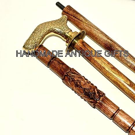 Designer Brass Victorian Vintage Handle Handmade Wooden Walking Cane Stick Gift