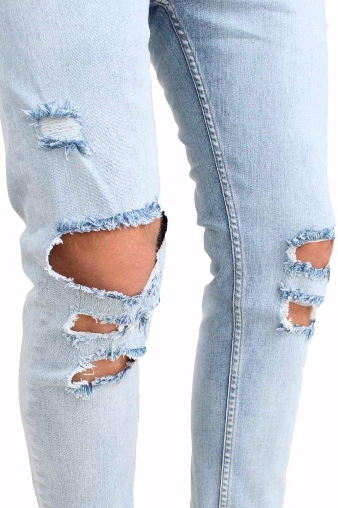 Men Jeans Daoroka Men's Ripped Slim Fit Straight Denim Motorcycle With Broken Holes Younger-Looking Pants (32, Blue) by Daoroka Men Pants (Image #3)