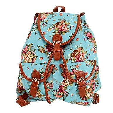 6c3533a3693 Women Girls Rose Pattern Canvas Drawstring Bag Floral Printing Backpack  School Rucksack(Aqua)