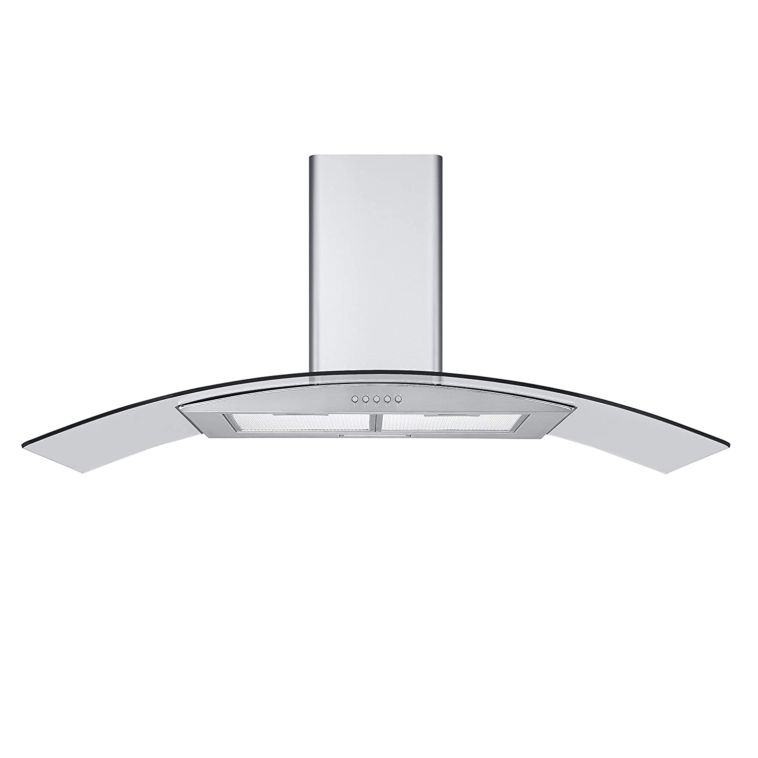 Cookology CGL100SS Stainless Steel 100cm Curved Glass Chimney Cooker Hood