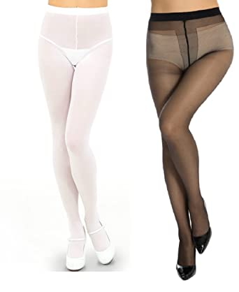 Black pantyhose white panties