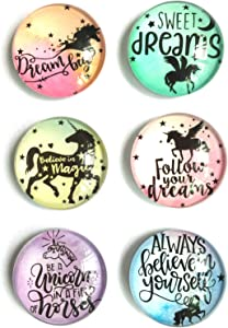 akeke Inspirational Quote Unicorn Refrigerator Magnets Best Gifts for Kids Girls Friend Students Classroom Whiteboard Locker Magnets set of 6