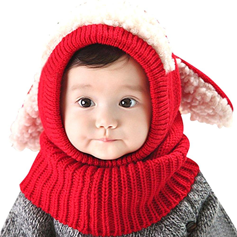 Samber Children Cute Knitted Hat+Scarf Winter Fleece Hat Warm Hooded Collar Scarf