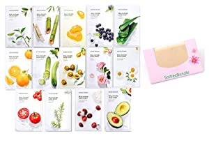 Nature Republic Real Nature Mask Sheet 14pcs Original Korean Mask Sheet + SoltreeBundle Oil blotting Paper 50pcs