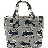 Insulated Lunch Bag Reusable Sling Shoulder Lunch Tote Travel Picnic Drawstring Bento Cooler Bag, Front Pocket and 2 Side Pockets (Blue Cats)
