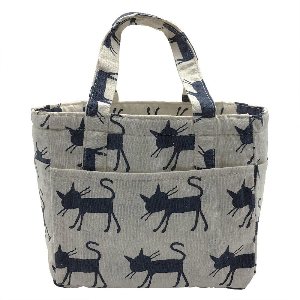 c61515cb9fcb Insulated Lunch Bag Reusable Sling Shoulder Lunch Tote Travel Picnic  Drawstring Bento Cooler Bag, Front Pocket and 2 Side Pockets (Blue Cats)